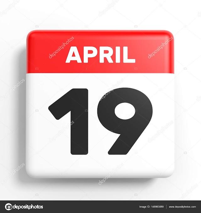 19 de Abril- O dia de hoje na história: fatos e acontecimentos em Elesbão Veloso.