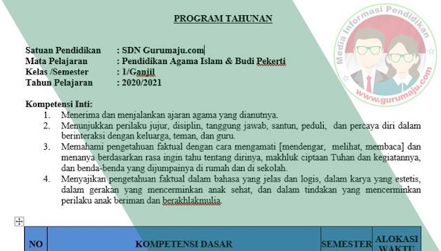 Download Prota PAI Kelas 1 Semester 1 SD K13 Revisi 2021