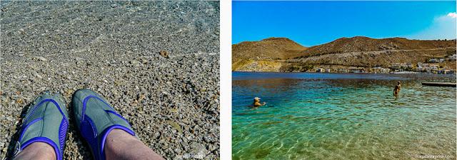 Praia de Nos, na ilha grega de Symi, Dodecaneso