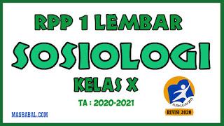 RPP 1 Lembar Sosiologi Kelas X Revisi Tahun 2020