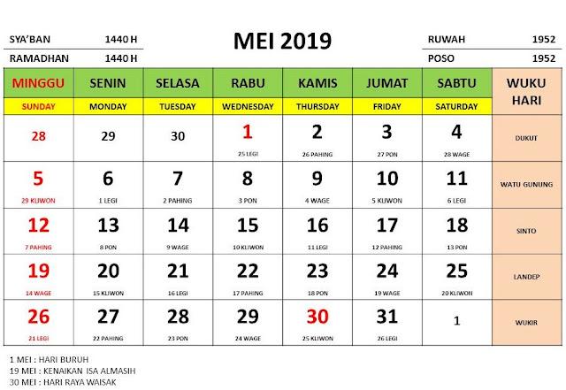 kalender wisata bulan mei tahun 2019