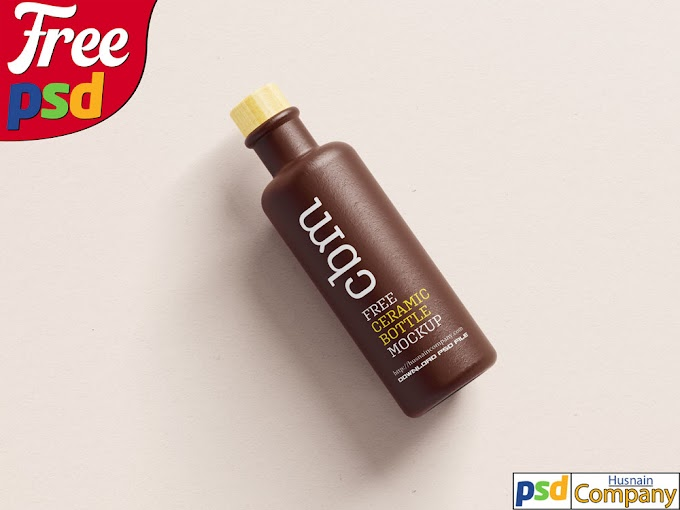 Download Free Clean Ceramic Bottle PSD Mockup #1