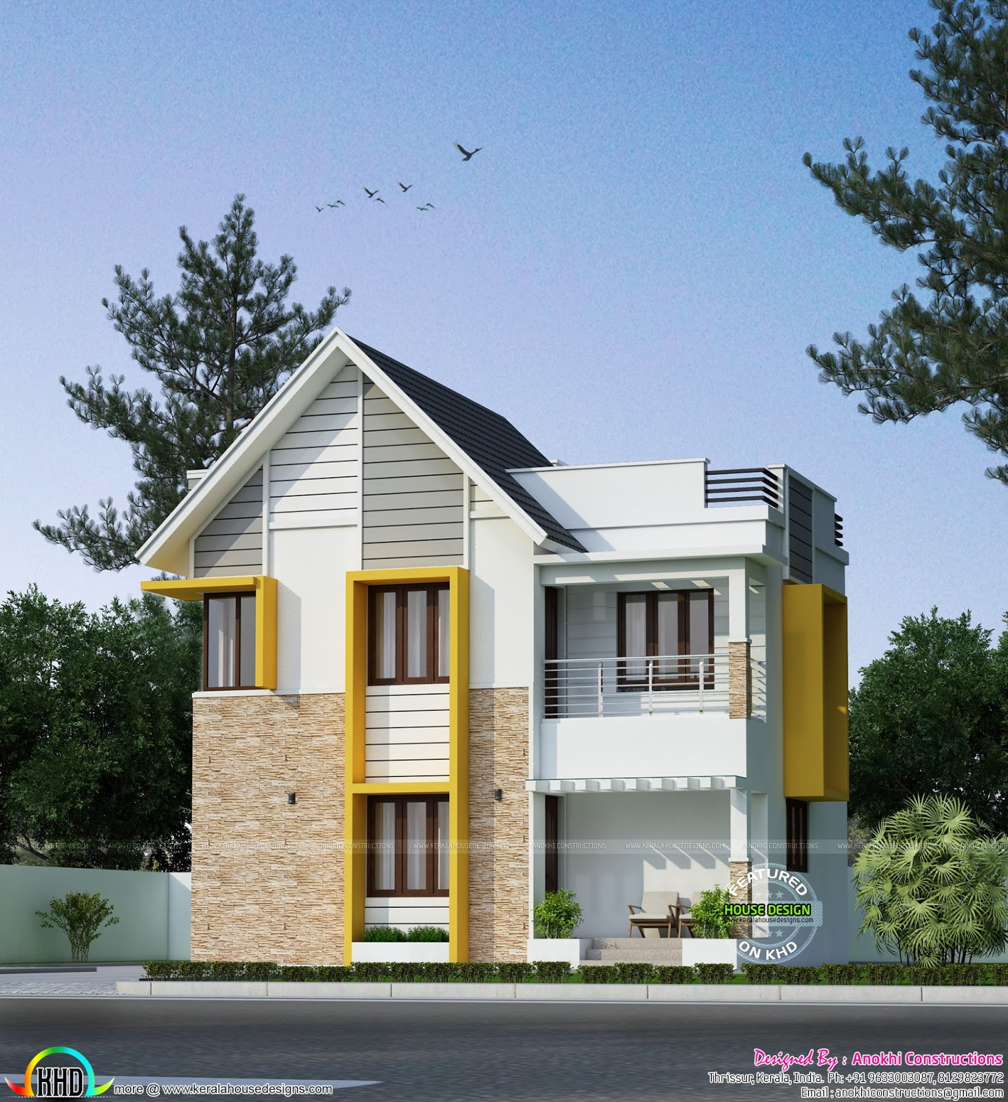 21 lakh cost estimated space saving home design kerala for Space saver home designs