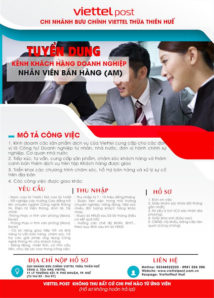 Viettel Post Huế tuyển dụng nhân viên  bán hàng doanh nghiệp AM
