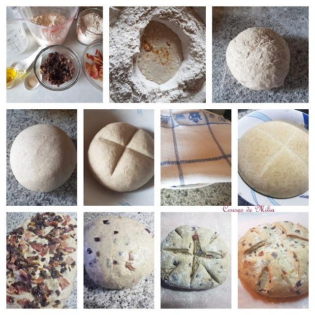 Pan con cebolla roja y panceta en horno de leña