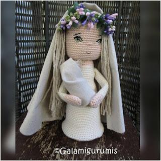 patrón amigurumi Virgen del Lino galamigurumis