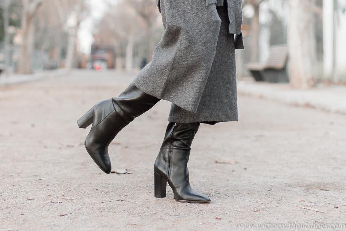 Botas negras XL de tacon ancho de Zara