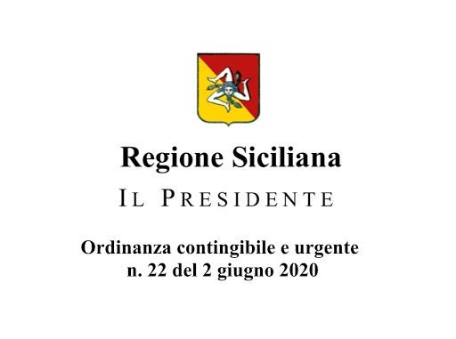 ORDINANZA PRESIDENTE REGIONE SICILIANA 2 GIUGNO 2020 N.22
