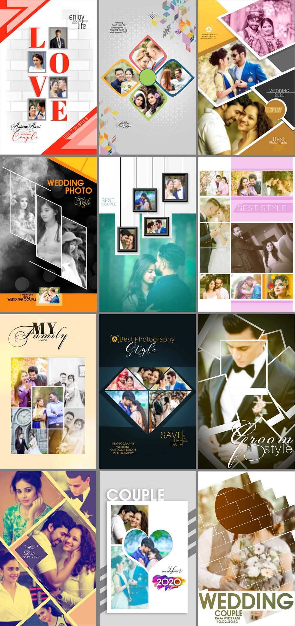 Wedding Portrait Photo Collage Templates