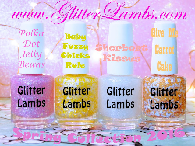 Glitter Lambs Spring Nail Polish Collection of 4: Polka Dot Jelly Beans, Baby Fuzzy Chicks Rule, Sherbert Kisses, Give Me Carrot Cake- Custom Handmade Glitter Topper Nail Polishes