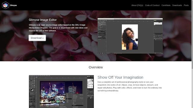Site oficial do editor de imagem Glimpse