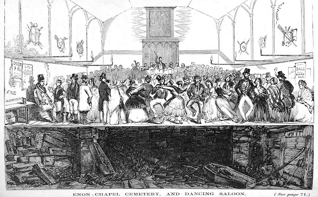 "an 1870s illustration of a public dance at a cemetary ""Enon - chapel cemetary, and dancing saloon"""