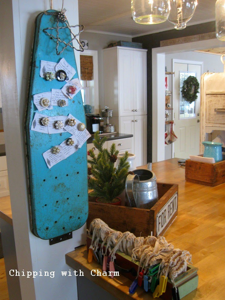 Chipping with Charm: Christmas in the kitchen, chalkboard advent tree...http://www.chippingwithcharm.blogspot.com/