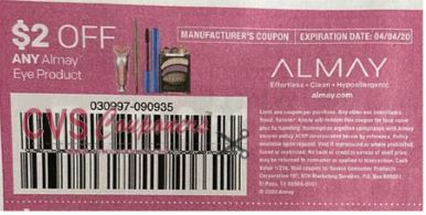 "$2/1 Almay Eye Product Coupon from ""SMARTSOURCE"" insert week of 3/8/20."