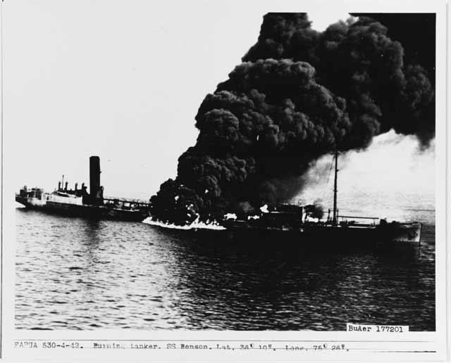 US tanker Byron D. Benson sinks off North Carolina, 5 April 1942 Worldwartwo.filminspector.com