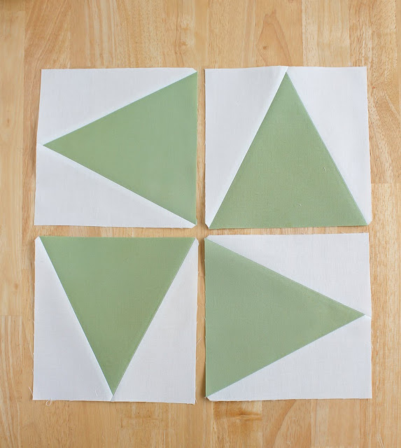 Triangle in a square quilt block using Tri-Recs rulers