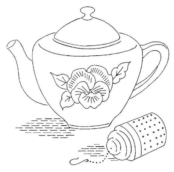 Tranh tô màu ấm trà