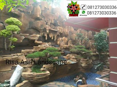gambar tebing buatan, dekorasi tebing, ornamen relig air terjun