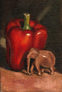Oil painting of a small wooden elephant beside a red pepper.