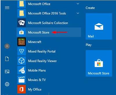 Cara membuka Microsoft Store