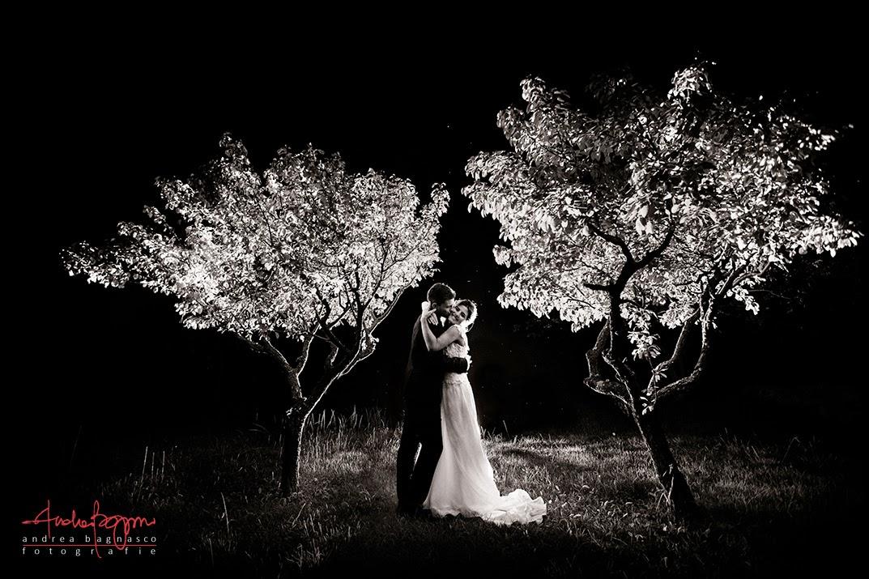 ritratto sposi matrimonio di notte