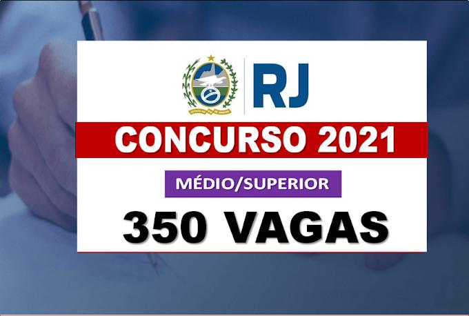Concurso RJ 2021: mais de 350 vagas abertas para níveis médio e superior com salários até R$ 5.831,21. Saiba Mais