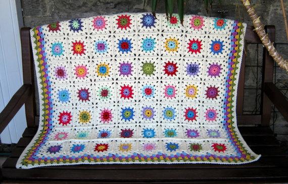 sunburst crochet flowers blanket white and bright colors