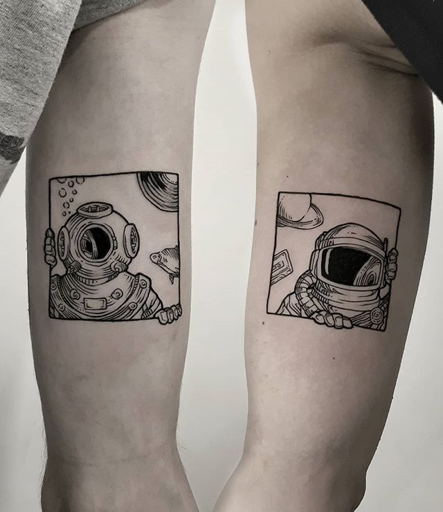 astronaut box shape tattoo