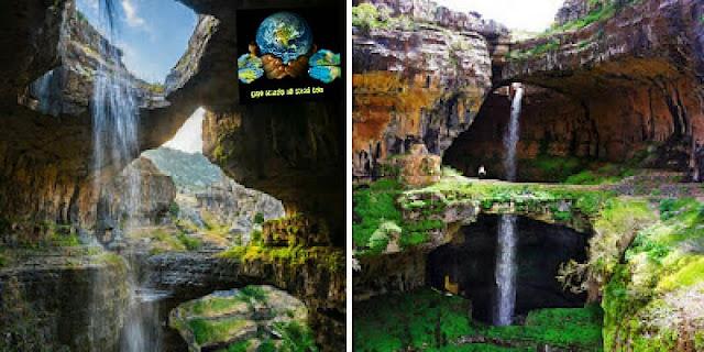 12. බාටරා ගෝර්ජ් දියඇල්ල, ලෙබනනය ( Baatara Gorge waterfall, Lebanon )