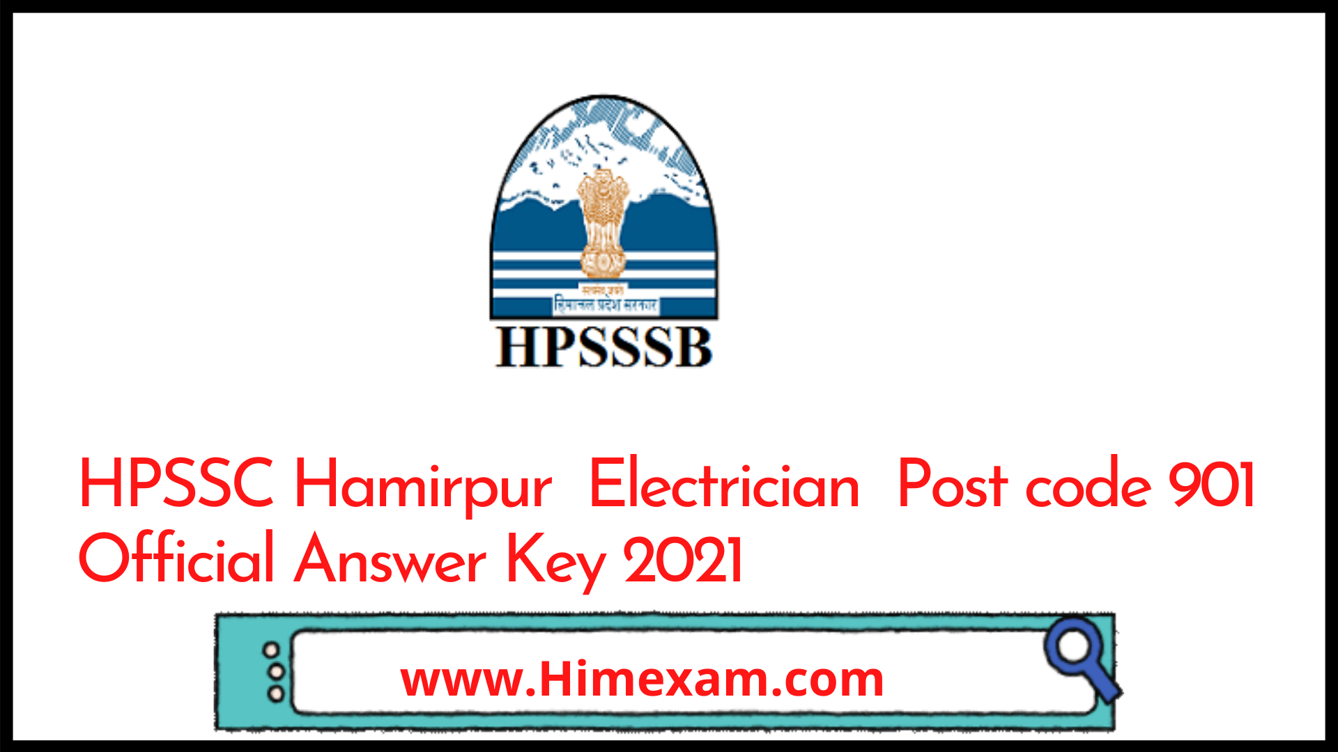 HPSSC Hamirpur  Electrician  Post code 901 Official Answer Key 2021