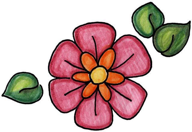 Dibujo De Flores Y Mariposas A Color