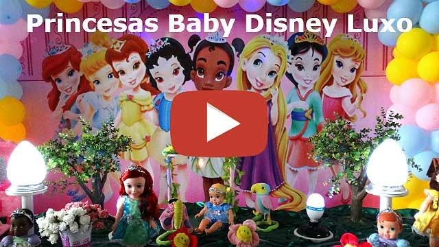 Vídeo decoração de festa de aniversário tema Princesas Baby da Disney