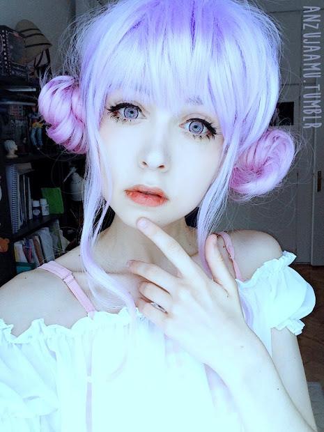 cosqueen lavender wig&clip bangs