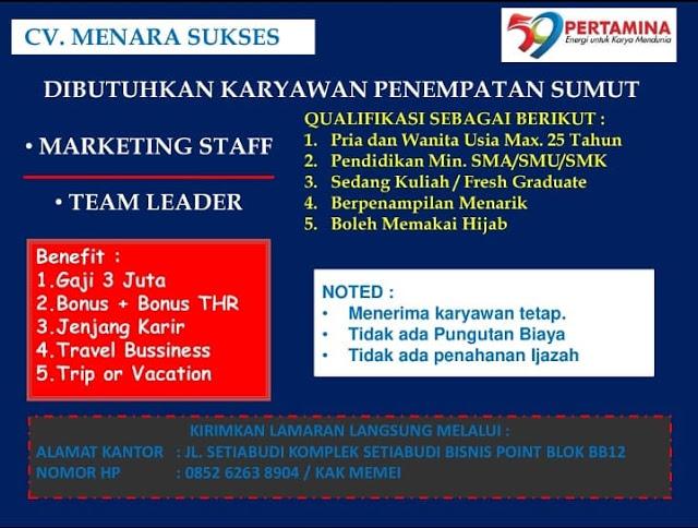 Lowongan Kerja SMA SMK Medan CV Menara Sukses Juni 2021
