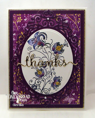 Our Daily Bread Designs, Seeds of Today, Pierced Rectangles Die, Rectangles Dies, Thanks dies, Ornate Ovals dies, Ovals dies, Plum Pizzazz 6x6 Paper Collection, Whimsical Wildflower 6x6 Paper Collection, Designed by Chris Olsen