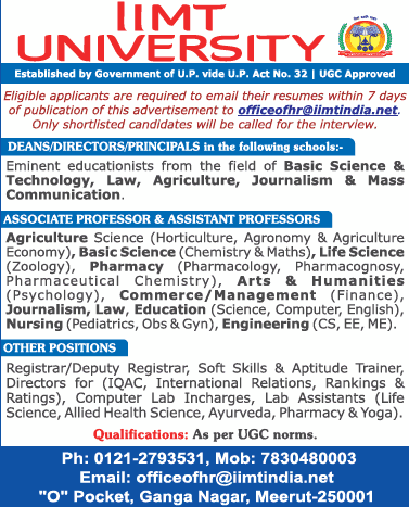 IIMT Agricultural/Life Sciences Faculty Jobs 2021 January