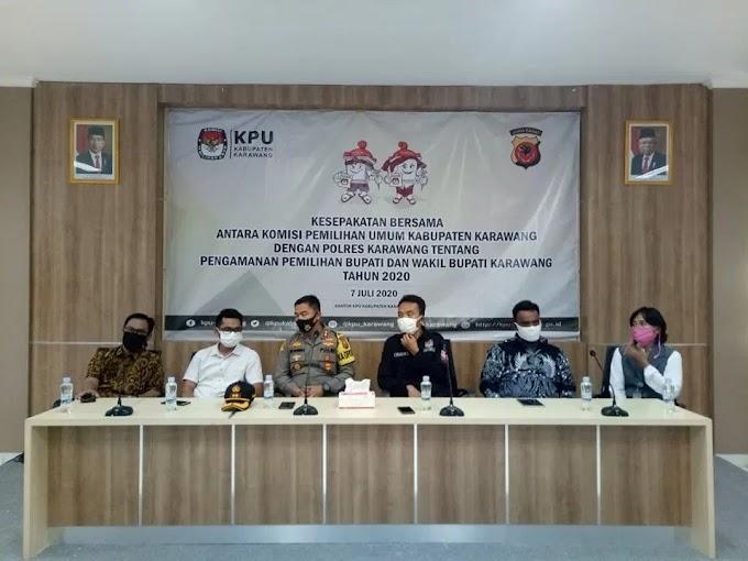 KPUD Karawang dan Kepolisian Resort Karawang Tandatangani kesepakatan Bersama