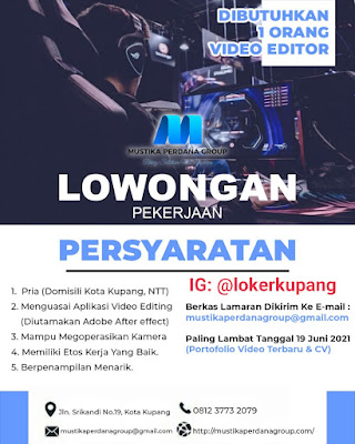 Lowongan Kerja Mustika Perdana Group Sebagai Video Editor
