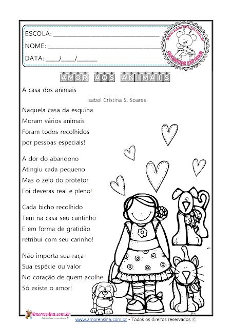 3º ano, 4º ano, atividades para o 3 ano do ensino fundamental, Atividades para o dia dos animais, Amorensina, Alfabetizar com amor,