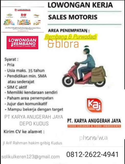 Lowongan Kerja Sales Motoris PT Karya Anugerah Jaya Penempatan Rembang Grobogan