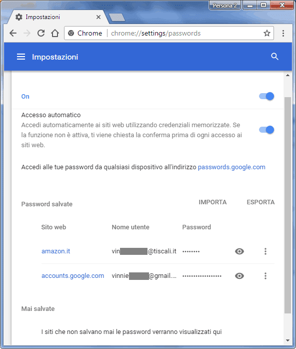 Chrome impostazioni esportazione importazione password