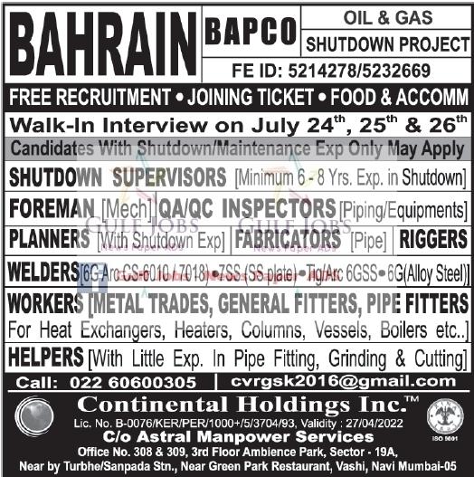 Oil & Gas shutdown Project Jobs for BAPCO Bahrain - LATEST JOBS
