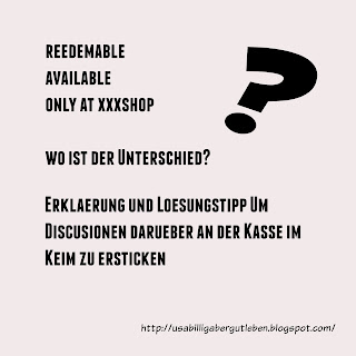 Was bedeutet reedemable, available oder only at...