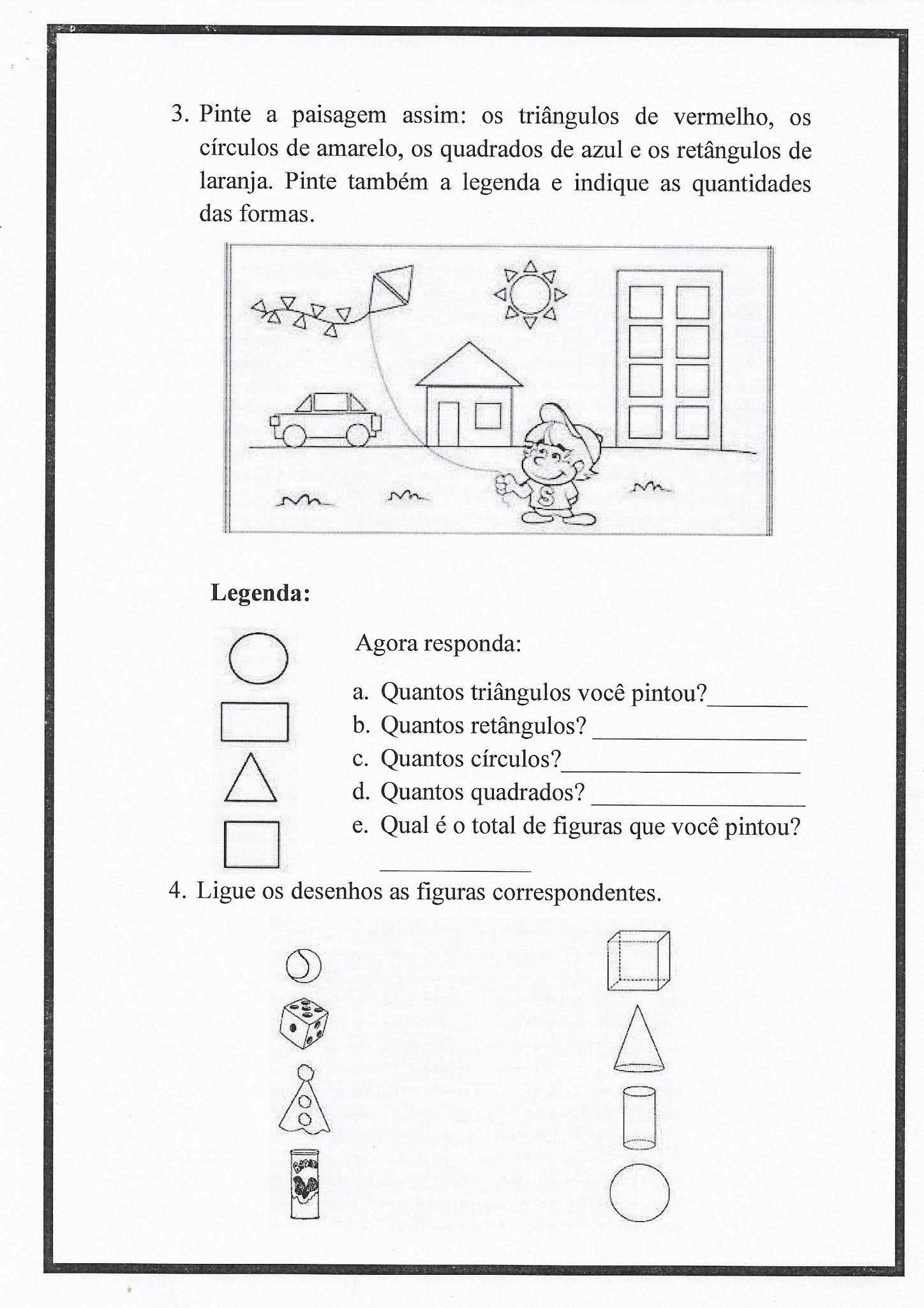 Atividade de Matemática: figurar geométricas e sólidos geométricos
