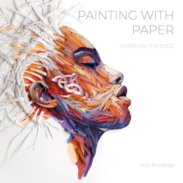 Painting with Paper book cover features on-edge paper strip profile image of woman with braided white hair