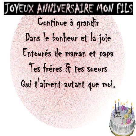 voeux pour anniversaire de mon fils