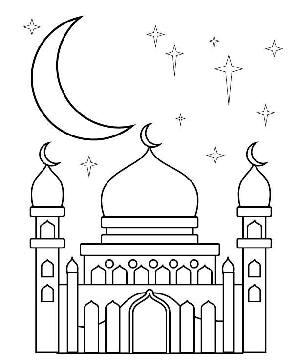 Gambar Mewarnai Islami Untuk Anak Tk : gambar, mewarnai, islami, untuk, Kumpulan, Gambar, Mewarnai, Masjid, Untuk, Islami