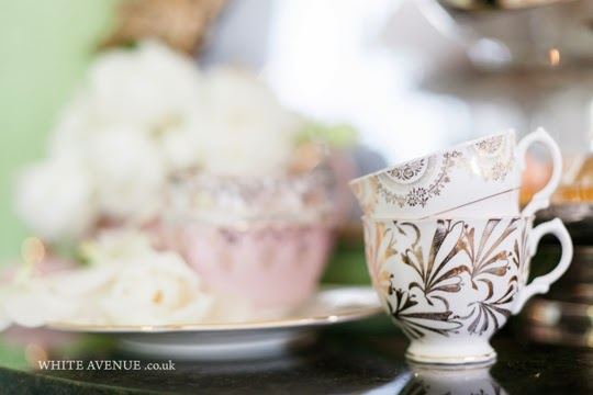 gold and white vintage teacups