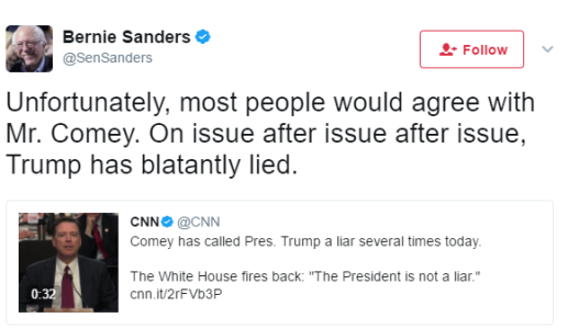 Most people would agree with Mr. Comey, Trump has blatantly lied - Bernie Sanders