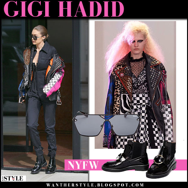 6ea937820d04 Gigi Hadid in multicoloured patchwork marc jacobs jacket and black jumpsuit  nyfw outfits what she wore